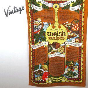 Vintage Traditional Welsh Recipes Tea Towel